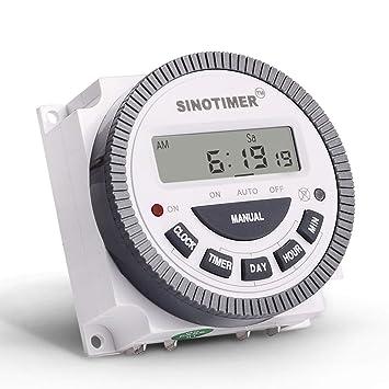 SINOTIMER 220V 10A Semanal 7 días Control programable del temporizador del relé del temporizador digital para aparatos eléctricos con reloj despertador de ...