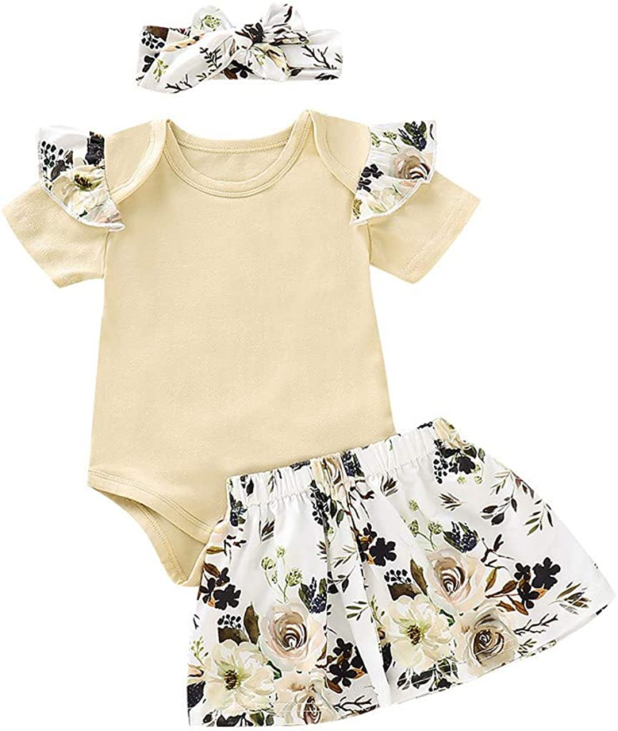 for 0-2Years,SO-buts Infant Baby Girls Summer Ruffle Solid Tops Romper+Floral Print Skirts+Headbands Outfits