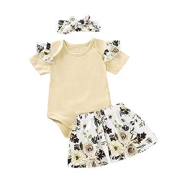 ZARLLE Counjunto de Ropa bebé niña Verano Infant Baby Girls Solid ...