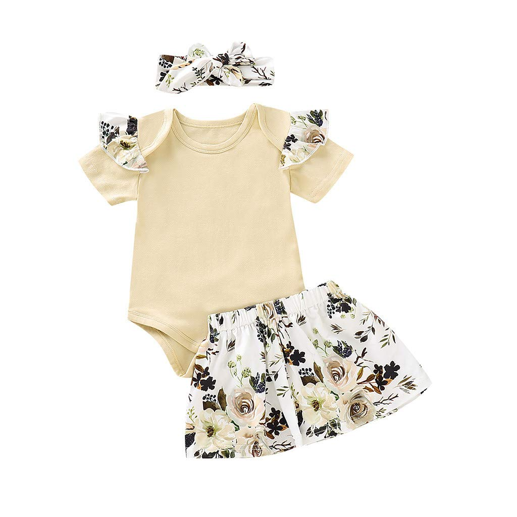 Girls Outfits,Infant Baby Jumpsuit Romper Floral Print Skirts Headbands (12-18 Months, White)
