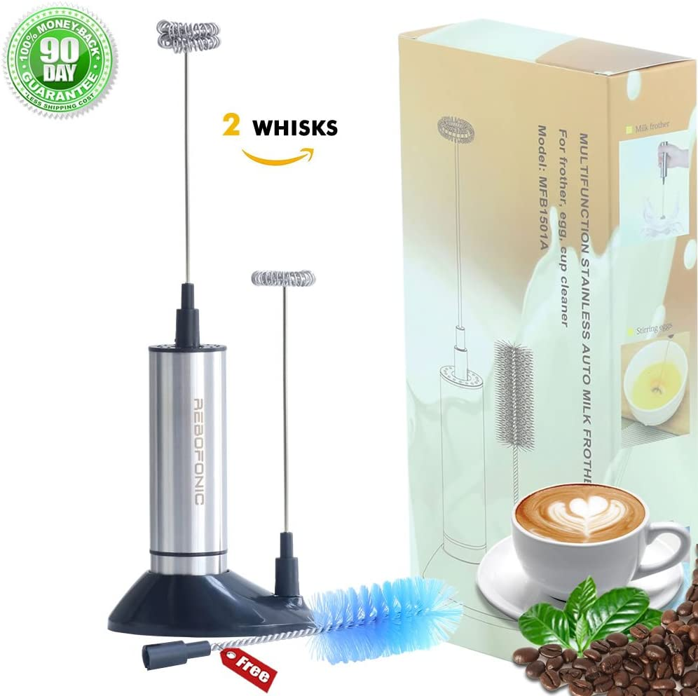 Tasbel Battery Operated 2 Speed Handheld Drink Mixer- Hot Chocolate Cappuccinos Maker- Stainless Steel Coffee Milk Frother Latte