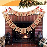 Jolik Merry Christmas Burlap Banner with 4 Red Bows - Merry Christmas Banner Decoration for Fireplace Wall Tree
