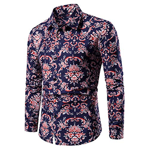 iHPH7 Dress Shirt Long Sleeve Button Down Casual Spring and Summer Casual Pattern Stand Collar Button Long Sleeve Shirt Men's (M,2- Blue)]()