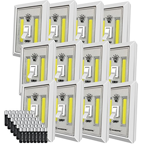 LED Night Light, Kasonic 200 Lumen Cordless COB LED Light Switch, Under Cabinet, Shelf, Closet, Garage, Kitchen, Stairwell and More, Battery(Included) Operated (12 Pack)