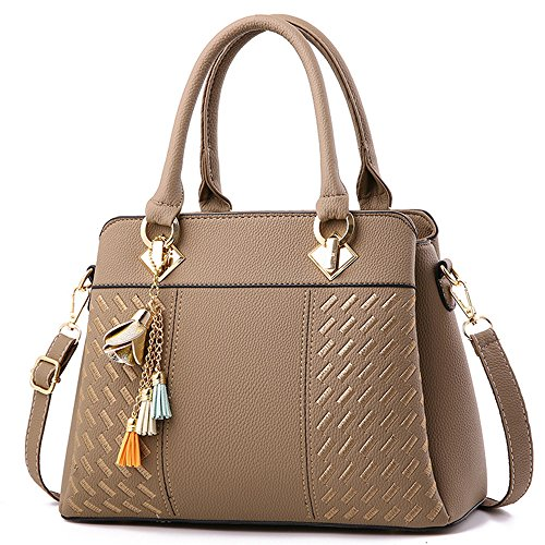 FiveloveTwo Elegant Womens Handbags and Purses Ladies PU Leather Satchel Messenger Crossbody Tote Shoulder Bags Khaki