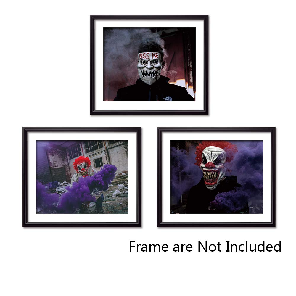 Sign Leader Unframed Canvas Wall Art Prints, Clown Posters for Bedroom, Halloween Home Decor, Set of 3 pieces-8x10 inch (Halloween Clown)