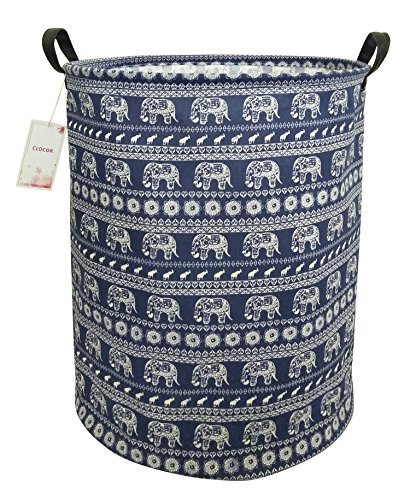 CLOCOR Large Storage Basket,Canvas Fabric Waterproof Storage Bin Collapsible Laundry Hamper for Home,Kids,Toy Organizer(Elephants)
