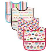 Luvable Friends Water Resistant Bibs with Crumb Catcher Pocket, Pink, 4-Count