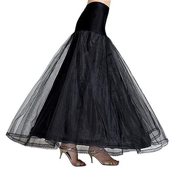 A-Line Mujer Enagua Blanca Negra Crinolina Larga para Vestidos ...