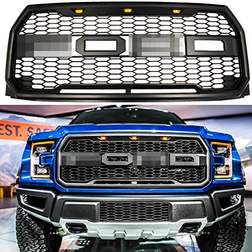 Front Grille Fits 2015 2017 Ford F150 Raptor Style Grill Kits With Amber Led Light And Conversion Letter Black