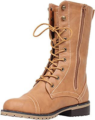 Lace up Mid Calf Military Combat Boot