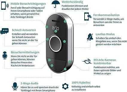 Arlo Smart Chime Kabellose Klingel Für Arlo Doorbell Akustisches Und Visuelles Signal Einstellbare Lautstärke Und Eingebaute Sirene Kompatibel Mit Arlo Ultra Hd Pro Pro2 Pro3 Grau Ac1001 Baumarkt