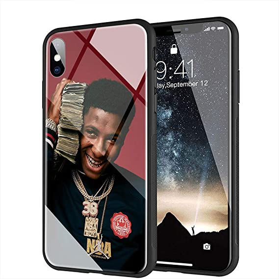 new product 3b108 cfe47 iPhone 7 Plus Case, iPhone 8 Plus Case, Tempered Glass Back Cover Soft  Silicone Bumper Compatible with iPhone 7 Plus/8 Plus AM-35 Youngboy Never  Broke ...