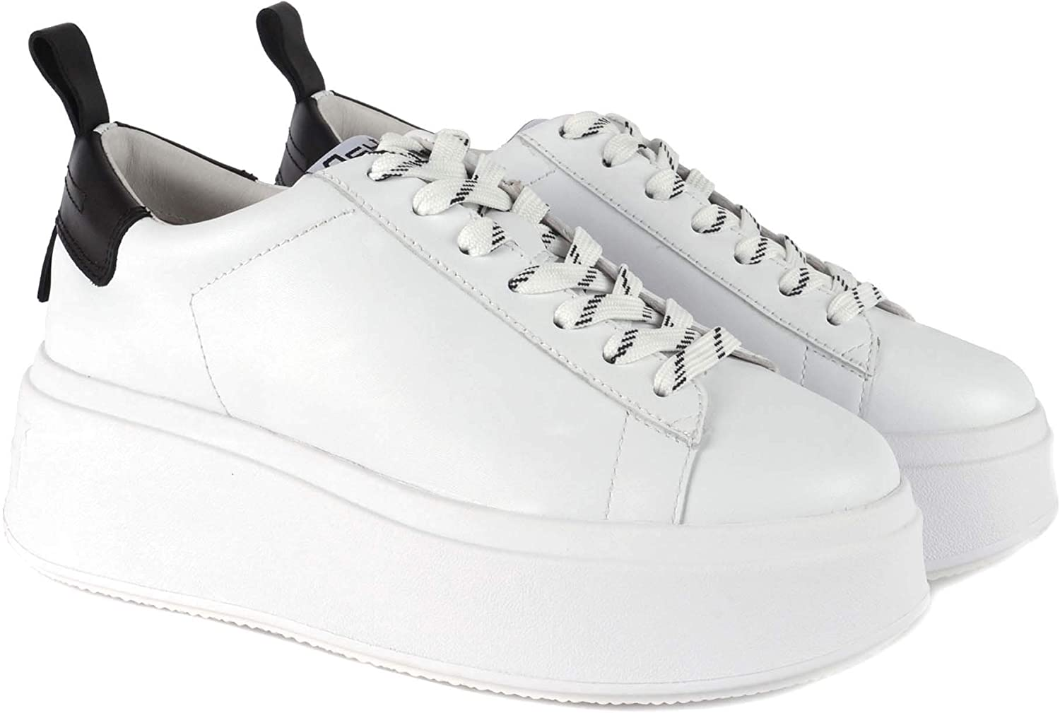 ASH Footwear Moon White and Black Platform Trainer White Black