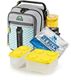 Arctic Zone High-Performance Dual-Compartment Lunch Box Set, Cool Gray/Yellow