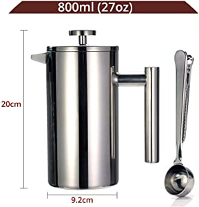 Coffee Pot Best French Press Coffee Maker Double Wall 304 Stainless Steel Keeps Brewed Coffee Or Tea Hot 3 Size With Sealing Clip/Spoon,800Ml