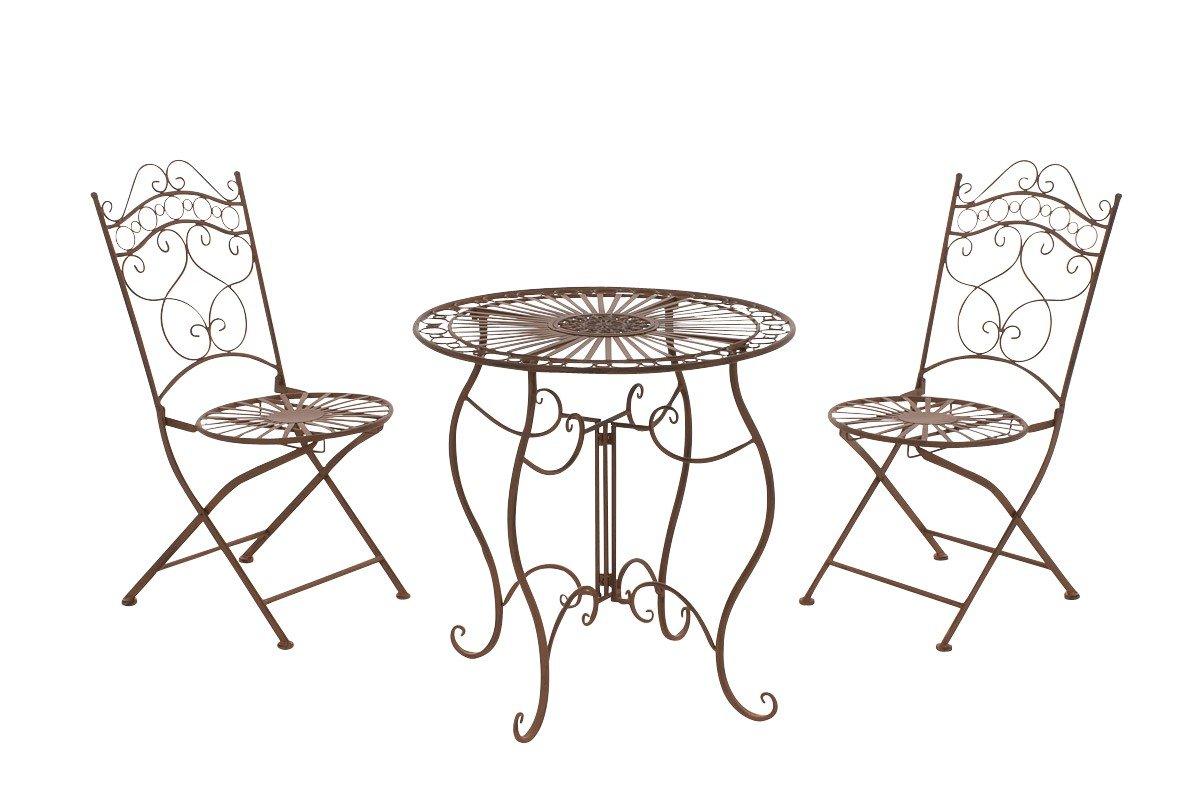 CLP Set da Giardino INDRA Tavolo + 2 Sedie - Set da esterno Tavolo e Sedie Pieghevoli in Ferro dallo Stile Vintage – Set da Balcone Stile Shabby con Tavolo Outdoor Rotondo - Colori a Scelta: bianco antico