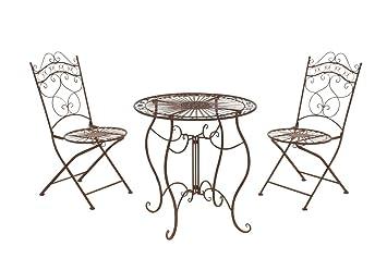 CLP Garten Sitzgruppe Indra Aus Eisen I 2X Klappstuhl Und 1x Tisch Aus Eisen  I