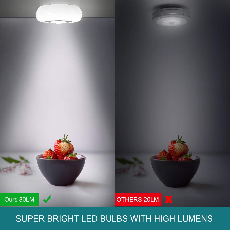 White - 2 Pack Cordless Battery-Powered LED Night Light Safe Lights for Decorative Hallway Sunnest Motion Sensor Light Puck Lights Stick-Anywhere Closet Light Stair Lights