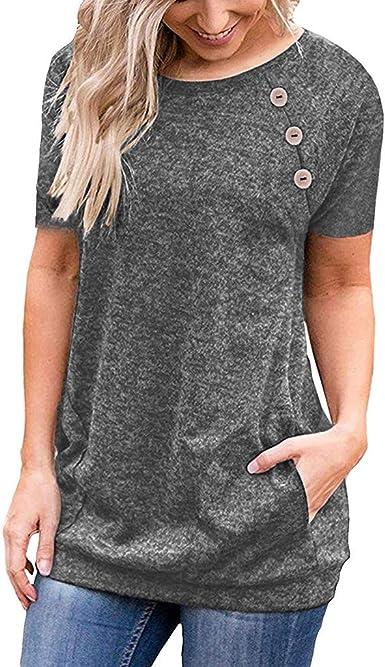 ZODOF Camisas Mujer, 2019 Blusas para Mujer Vaquera Sexy Gasa Tops Camisetas Mujer Manga Corta Sweatshirt T-Shirt: Amazon.es: Ropa y accesorios