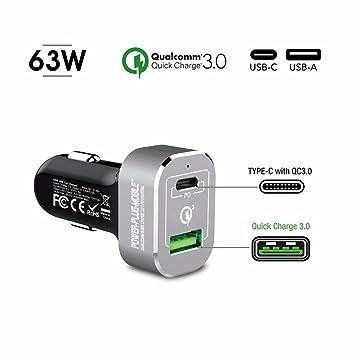 63 vatios - 12V Coche USB-A y USB-C Cargador de Coche - Enchufe de alimentación móvil - Qualcomm Quick Charge 3.0 y PD - Cargador para Macbook, ...