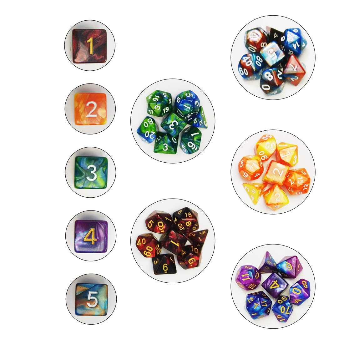 QMAY DND Dice Set, 140PCS Polyhedral Game Dice, 20 Color Double-Colors DND Dice Role Playing Dice for Dungeon and Dragons DND RPG MTG Table Games Dice D4 D8 D10 D12 D20 by QMAY (Image #3)