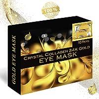 24K Gold Collagen Eye Mask, 10 Pack, Treatment Mask, Under Eye Patches, Anti-Wrinkle, Under Eye Bags Treatment, Gel Eye Mask for Puffy Eyes, Anti-Aging, Hydrating, Moisturising, Wrinkle Firming, Dark Circle Remover