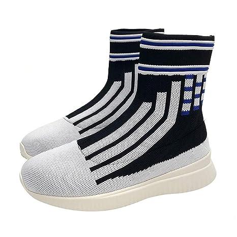 DAMENGXIANG Primavera Otoño Sock Sneakers Mujer Stripe