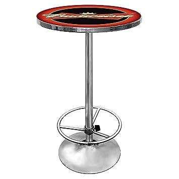 Amazon budweiser chrome pub table sports outdoors budweiser chrome pub table watchthetrailerfo