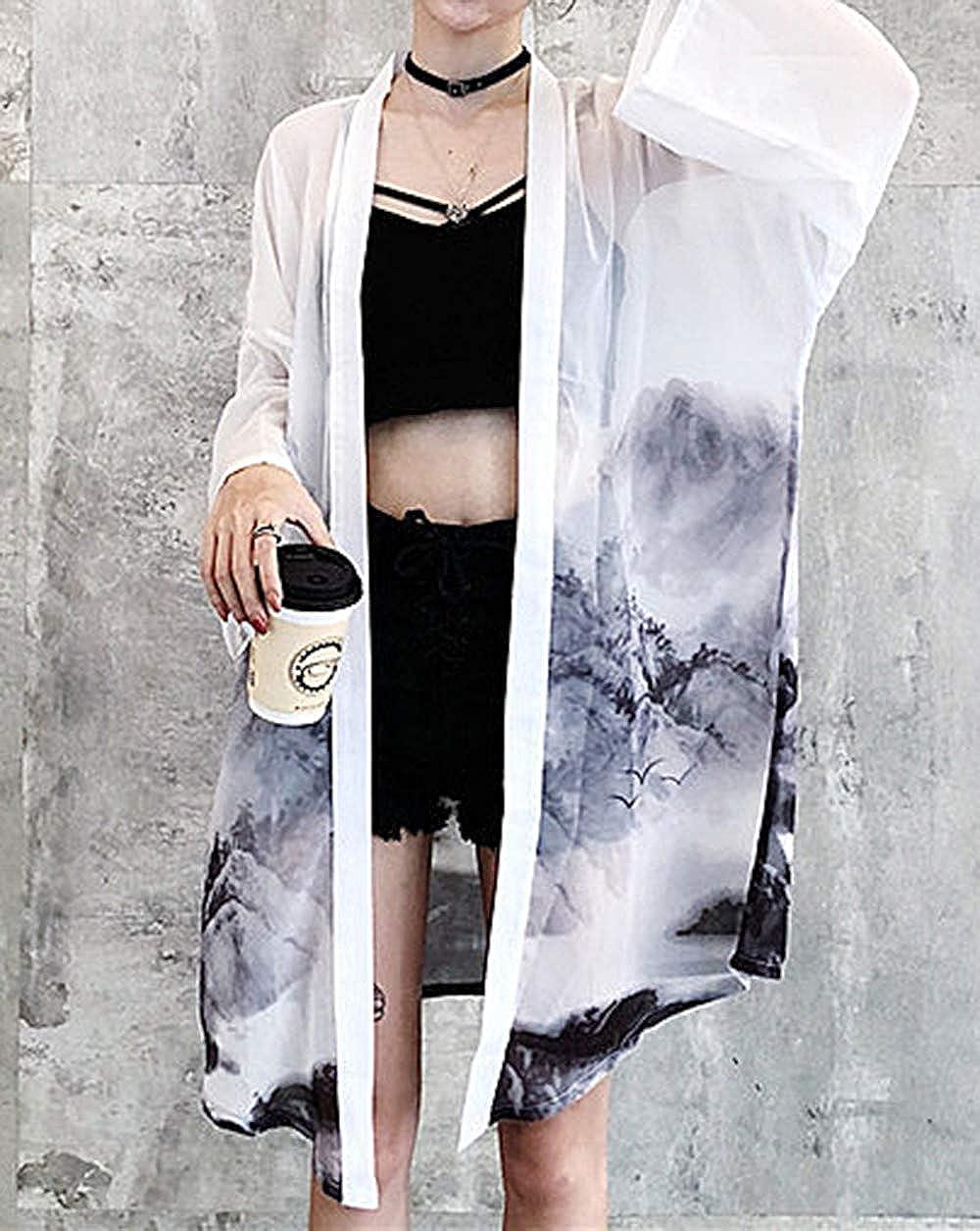 giacca leggera EU 34-46 LAI MENG Kimono da donna con motivo giapponese maniche a 3//4