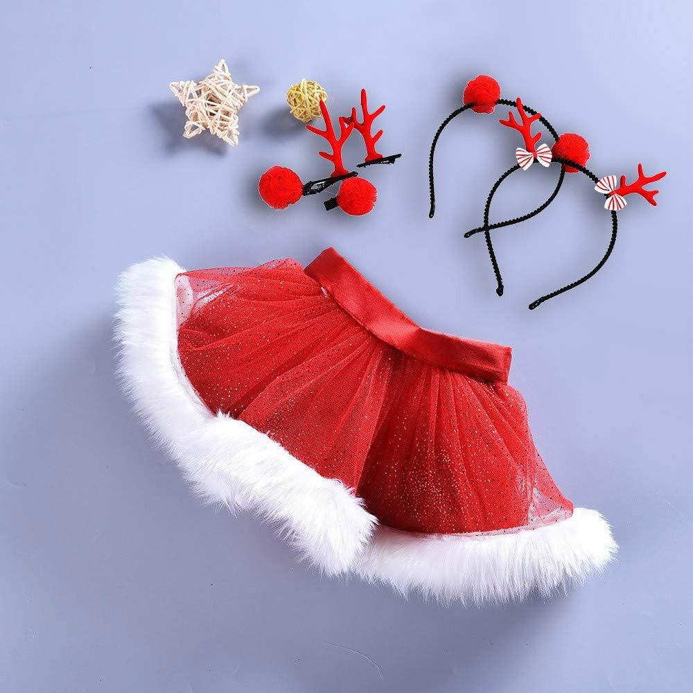 Kids Baby Girls 6-9 Years Christmas Tutu Ballet Skirts Fancy Party Skirt+Hair Hoop Set