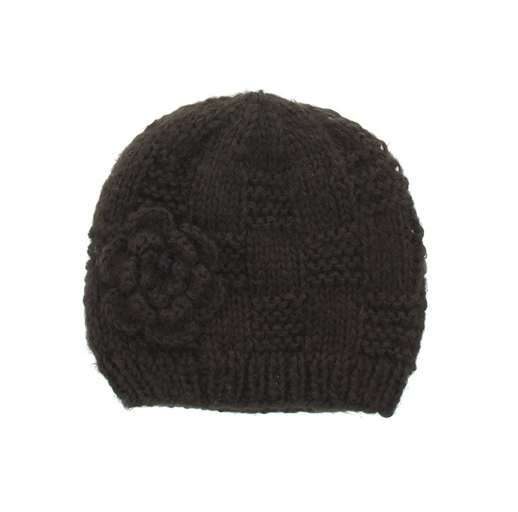 Milani Women s Warm Fashion Hand Knit Beanie Cap with Crochet Flower Design  in Black at Amazon Women s Clothing store  69facf64f5