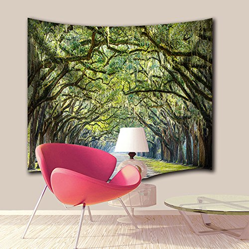 Green Nature Tapestry Decor By IMEI, Wild and Free Trees Wall Hanging Tapestry Bedspread Dorm Accessories Decor Beach Throw (90 X 60 Inch, Oak Trees Forest Avenue (Halloween Wall Mural Ideas)
