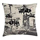 War Home Decor Throw Pillow Cushion Cover by Ambesonne, A Hand Drawn Scene as Battle Atomic Bomb Explosion Helicopters City Ruin Inferno, Decorative Square Accent Pillow Case, 18 X18 Inches, Black