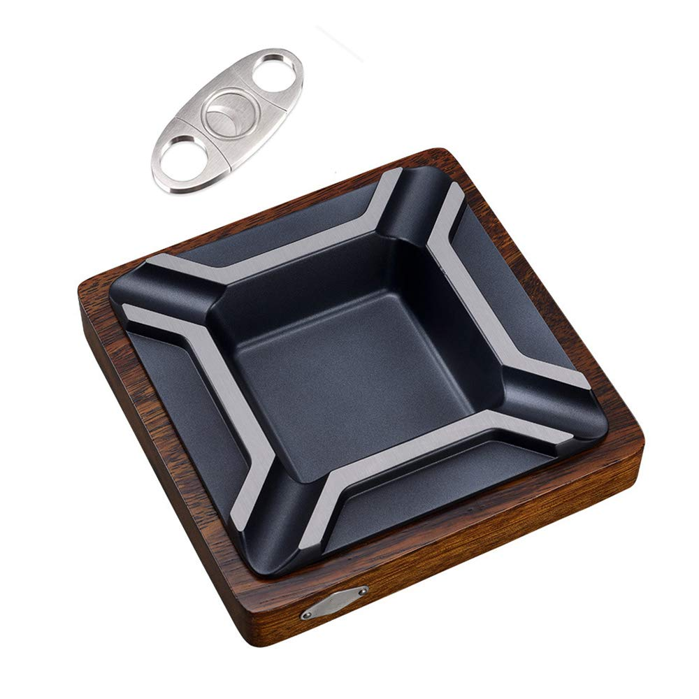 Wkerry Cigar Ashtray,Metal/Wood Cigar Ashtray- with Cigar Cutter and Perfect for Most Cigars