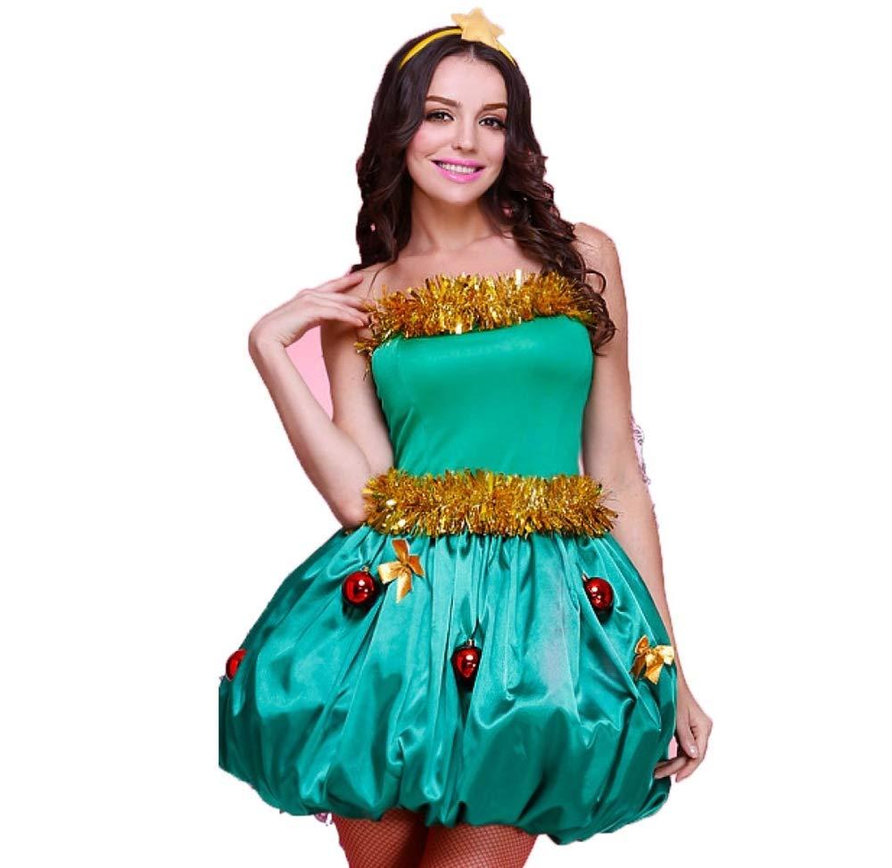 58501247cab33 Yunfeng Costume de père noël pour Femme Ludique Sapin Vert Elf Costume Noël  Arbre de Noël Costume Adulte Costume de déguisement Adulte fête de noël  Cosplay  ...