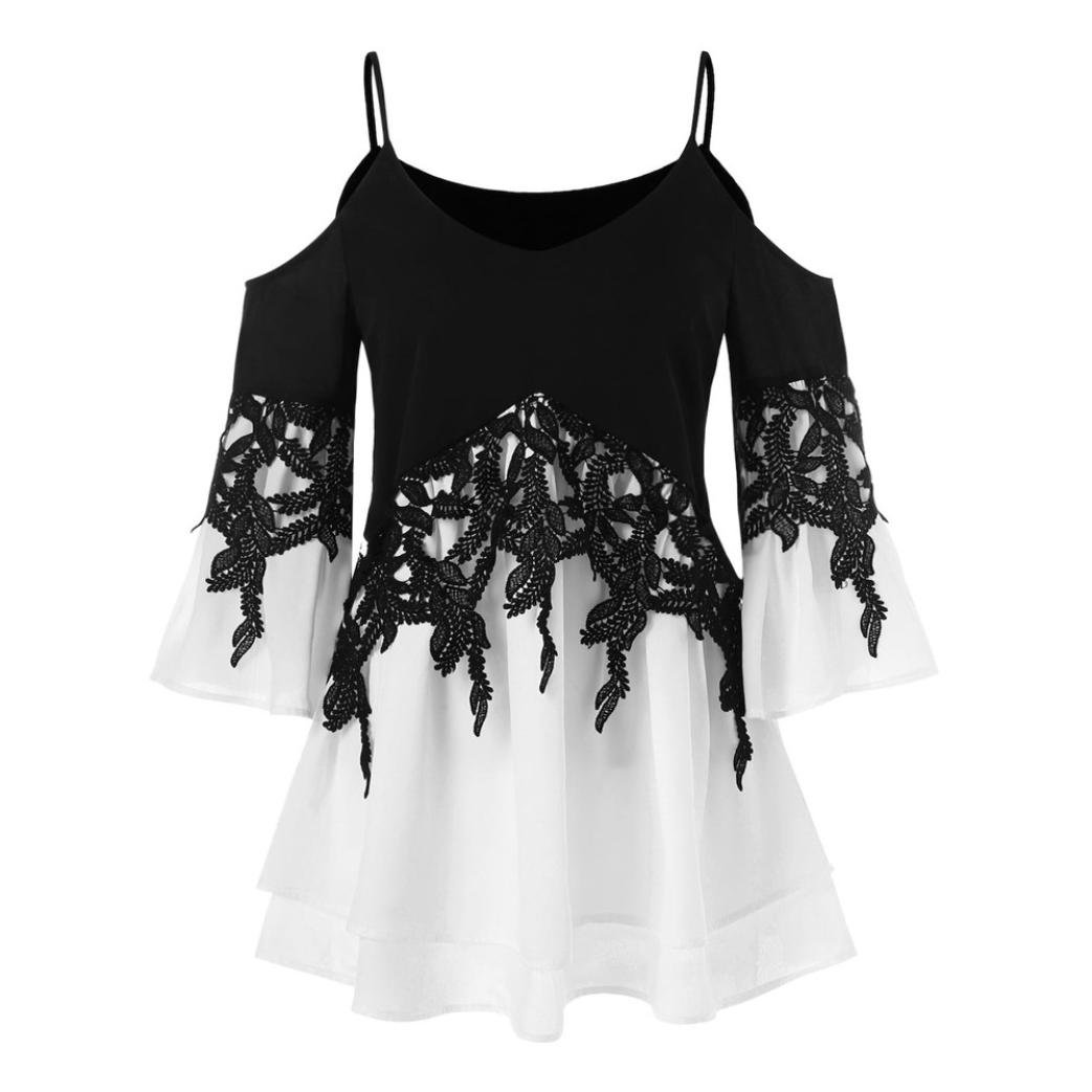 Clearance!Youngh New Womens Blouses Shirts Fashion Sexy Tops Womens Casual Applique Flowy Shirts Chiffon V-neck Blouses Long Sleeve Blouse Daily Casual ...