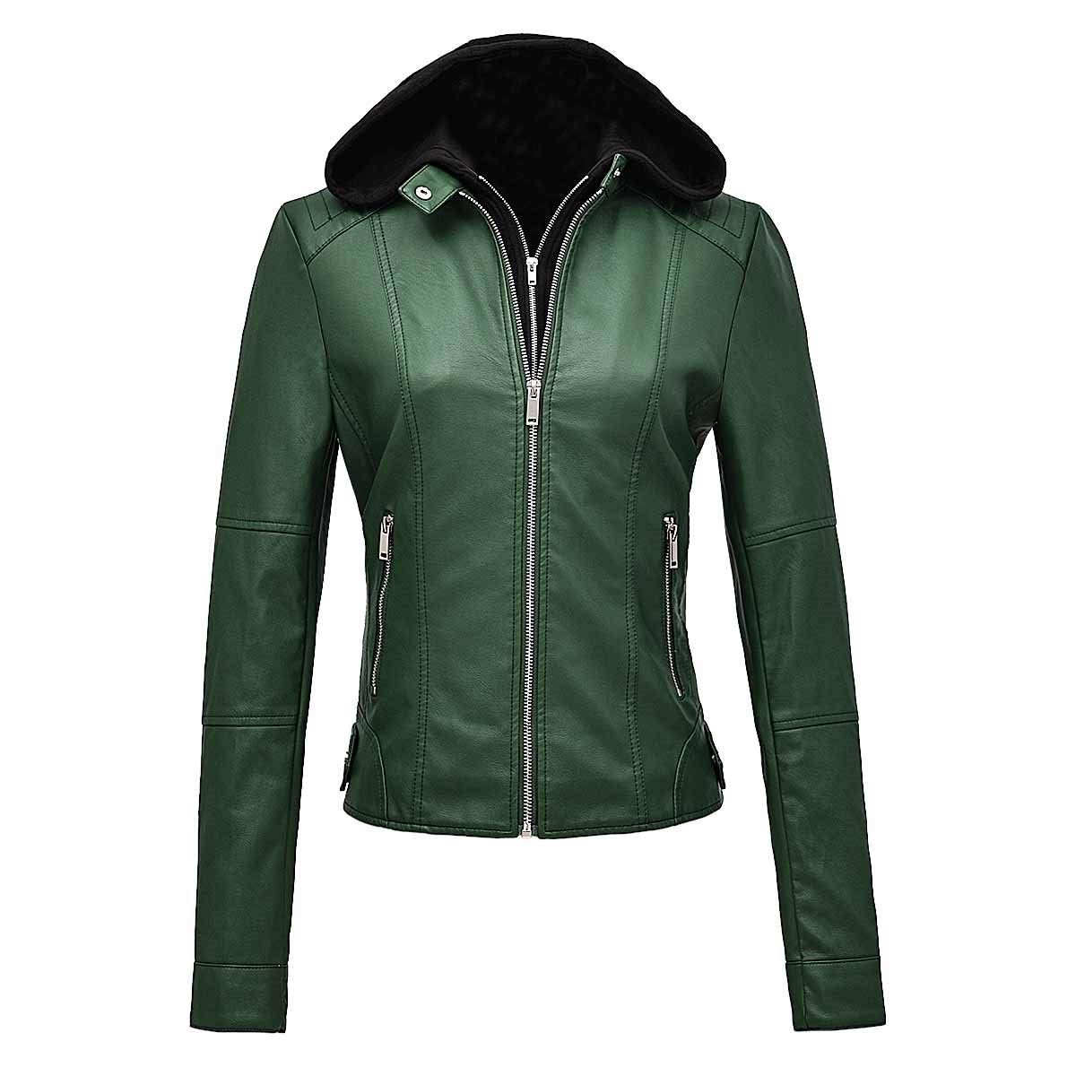 FEICUI Women's Removable Hooded Faux Leather Casual Short Jacket Moto Biker Coat (Dark Green, Large) by FEICUI