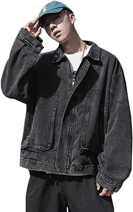 [ZHONGJUE]メンズ デニムジャケット 長袖 アウター ゆったり ジャンパー ストリート系 韓国ファッション ジャンパン Gジャン オシャレ 通学 春服 ファスナー付き オシャレ ジージャン