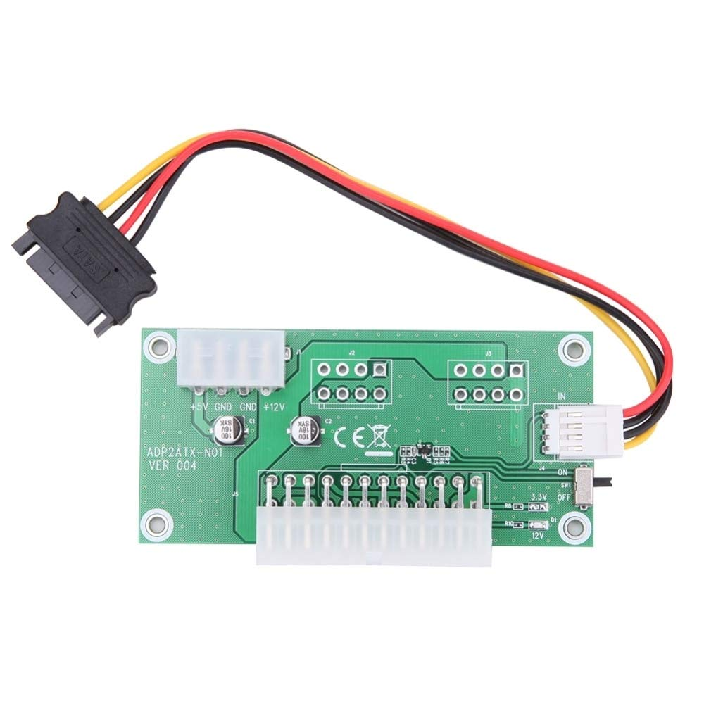 Computer Cables PC Desktop ATX 24-Pin Dual PSU Power Synchronous Start Card Adapter with SATA Extender Cable /& Manual Switch Cable Length: Other