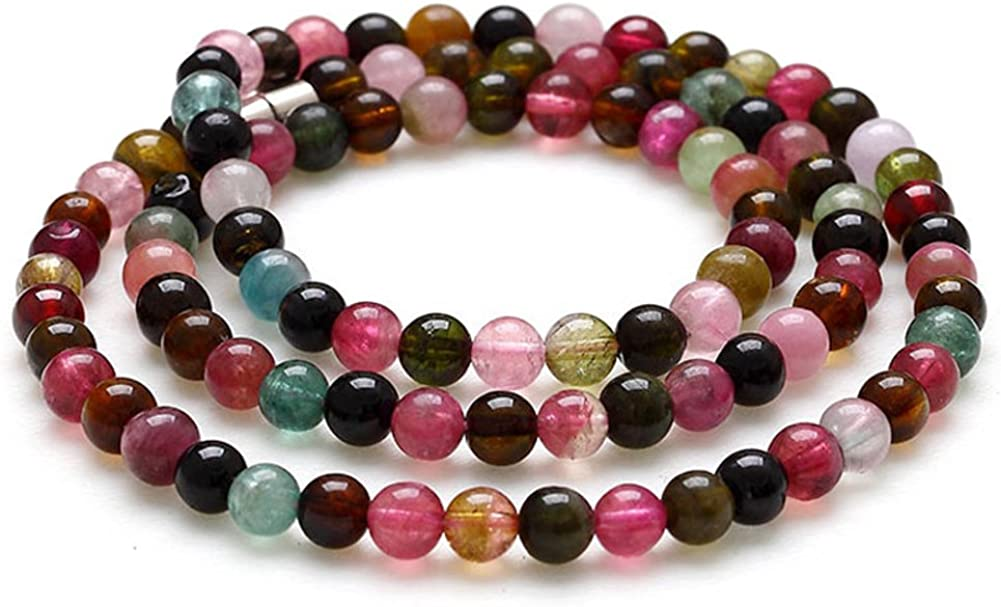 Cristales naturales de pulsera turmalina/ sandía verde azul verde perla-cojinete/ pulsera de cadena múltiple