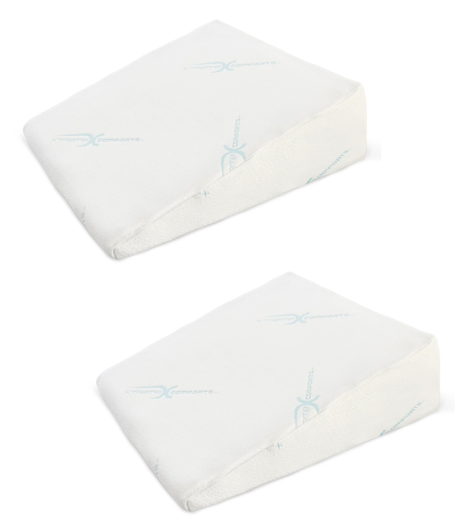 Xtreme Comforts 7'' Memory Foam Bed Wedge Pillow, Hypoallergenic Breathable, Washable Bamboo Cover, Elevated Support Cushion, Acid Reflux, Lower Back Pain, Heartburn, Snoring (2 Pack) by Xtreme Comforts