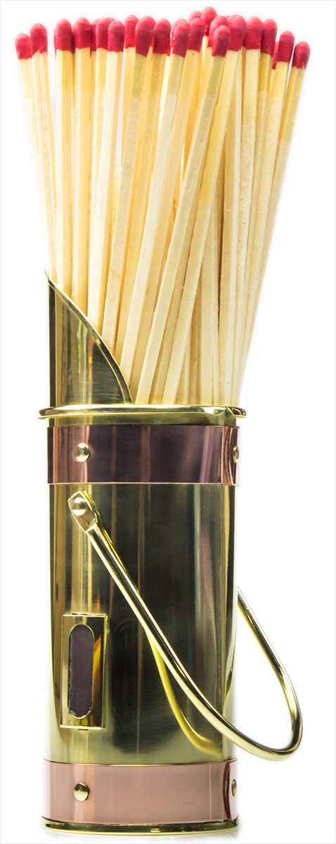 Amazon.com: Polished Brass Fireplace Matchstick Holder & 40 Long ...
