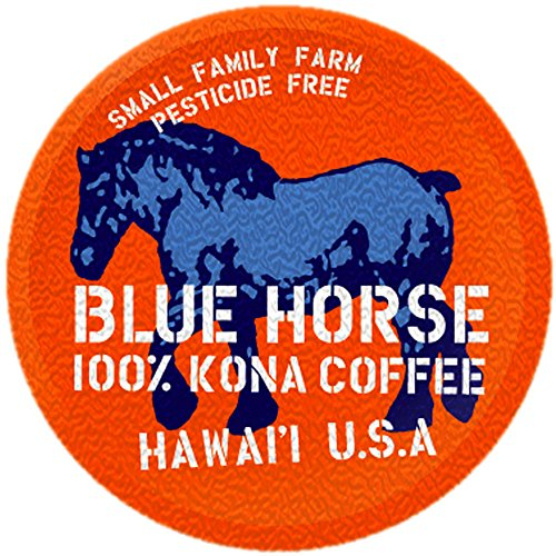 Farm-fresh: 100% Kona Coffee, Single Serve for 2.0 Keurig K-Cup Brewers, 10 Count, Full-City Roast authentic Kona - Horse Coffee Blue