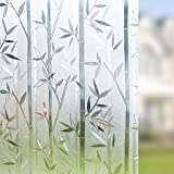 Rabbitgoo 3D No Glue Static Cling Film Privacy Glass Bamboo Frosted Window Films 23.6in. By 78.7in. (60cm By 200cm)