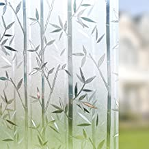 Rabbitgoo 3D No Glue Static Cling Film Privacy Glass Bamboo Frosted Window Films 35.4in. By 78.7in. (90cm By 200cm)