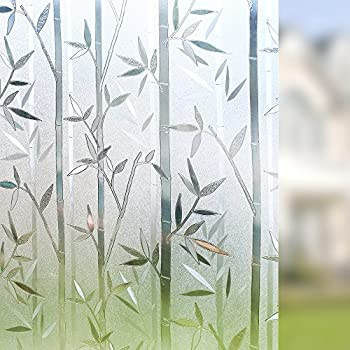 Rabbitgoo Bamboo Frosted Window Films Privacy Static Cling Vinyl Decorative  Glass Film 23.6in. By