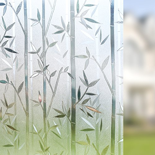 Rabbitgoo 3d privacy window film no glue static window for Tendance decoration fenetre