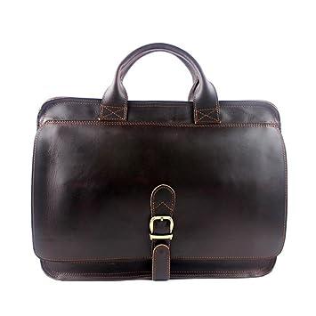 AFCITY maletín para Ordenador portátil Cartera de Viaje de Cuero para Hombre Cartera de Viaje de