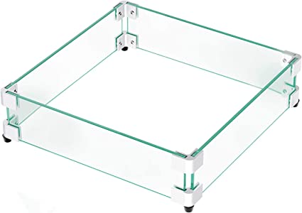 Amazon Com Gaspro 17 5 Square Fire Pit Glass Wind Guard Clear Tempered Glass Wind Guard 5 16inch Thickness For 28 Square Fire Pit Table And 12 Square Drop In Fire Pit Pan 17 5 X 17 5